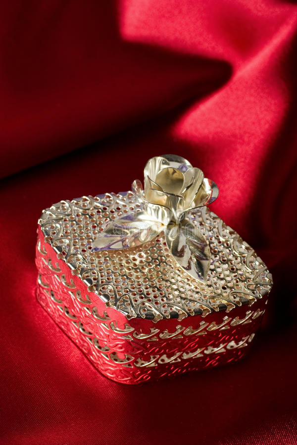 Silberner Juwelkasten stockfotos