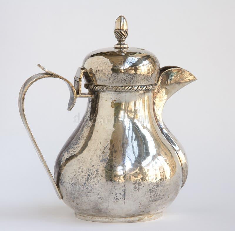 Silberner Kaffepotentiometer der Weinlese stockbild