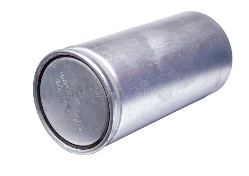 Silberner Kondensator lokalisiert auf einem weißen Hintergrund stockfotos