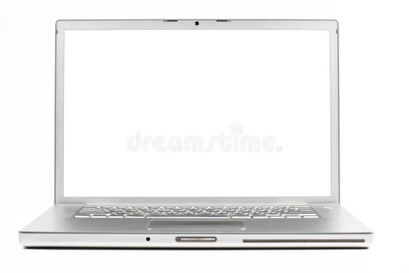 Silberner Laptop stockbild
