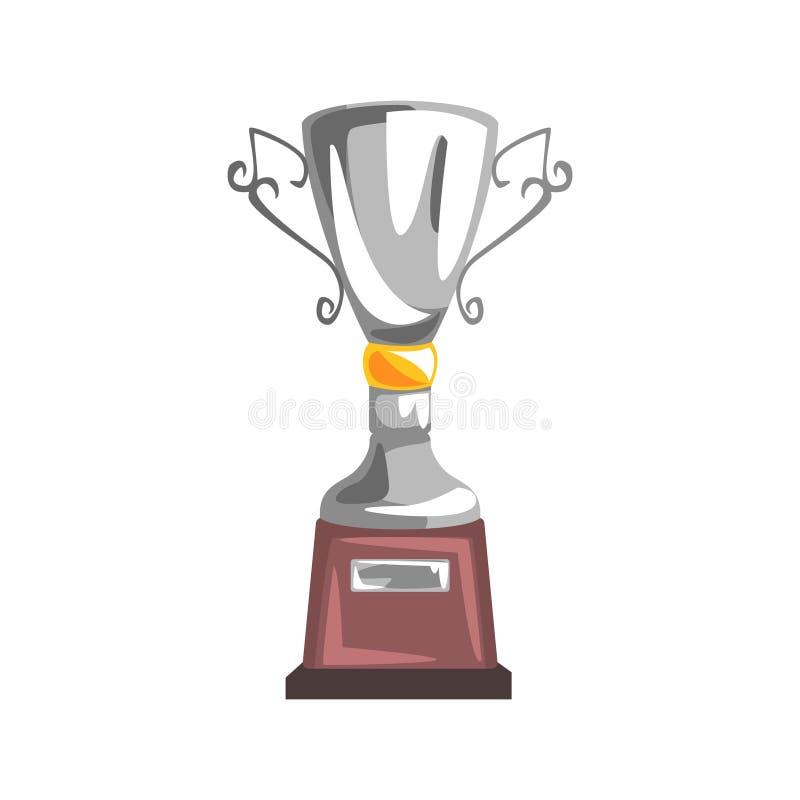 Silberner Meisterschafts-Becher, in Verbindung stehendes Gegenstand-Teil des Rennläufer-Attribut-Illustrations-Satzes laufend stock abbildung