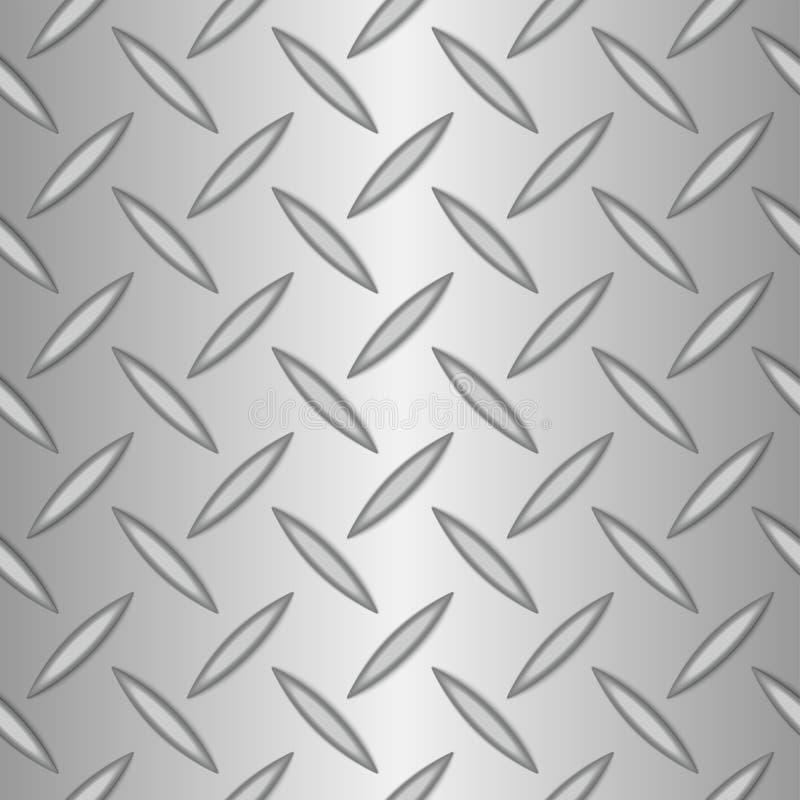 Silberner Metallhintergrund der nahtlosen Diamantplatte lizenzfreie abbildung