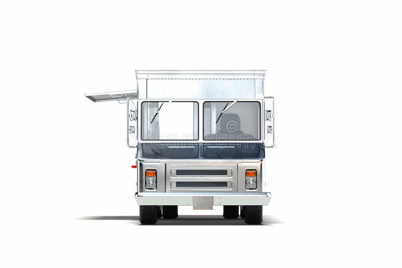 Silberner metallischer realistischer Nahrungsmittel-LKW lokalisiert auf Wei? Wiedergabe 3d lizenzfreie abbildung
