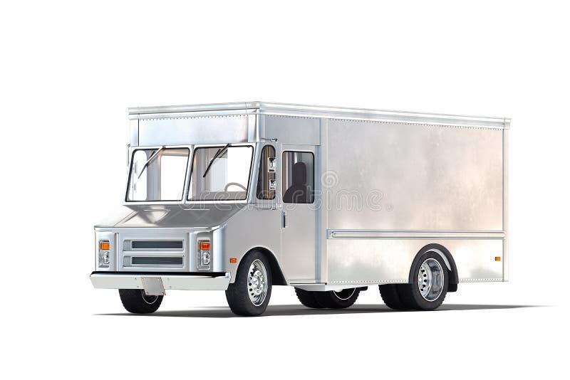 Silberner metallischer realistischer Nahrungsmittel-LKW lokalisiert auf Wei? Wiedergabe 3d stock abbildung