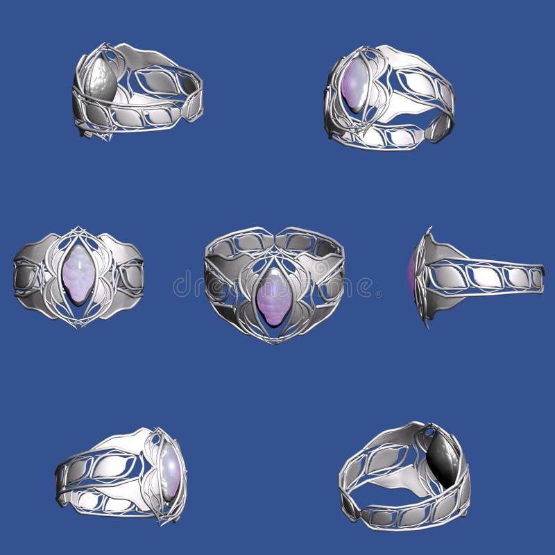 Silberner Ring mit einem Saphir stockfotos