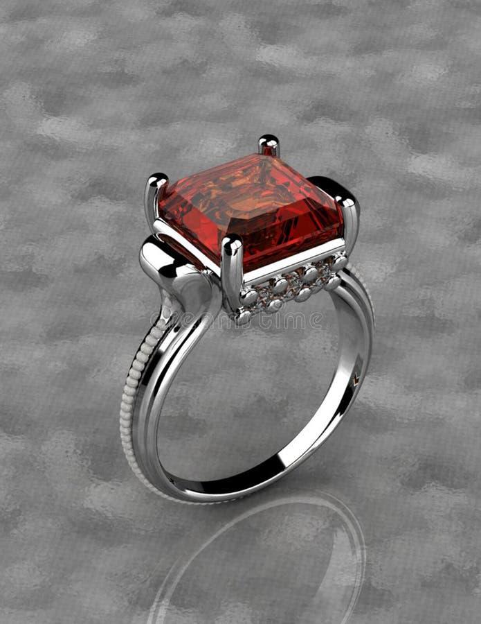 Silberner Ring mit rotem Diamanten stockfotos