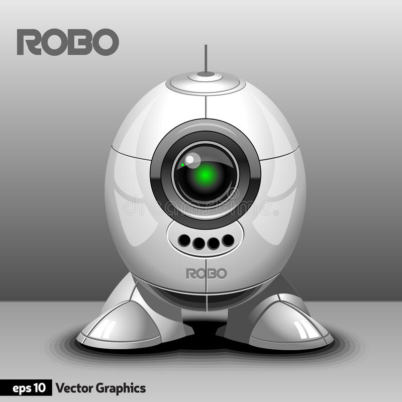 Silberner Roboter mit den Augen-Kamera und Beinen lizenzfreie abbildung
