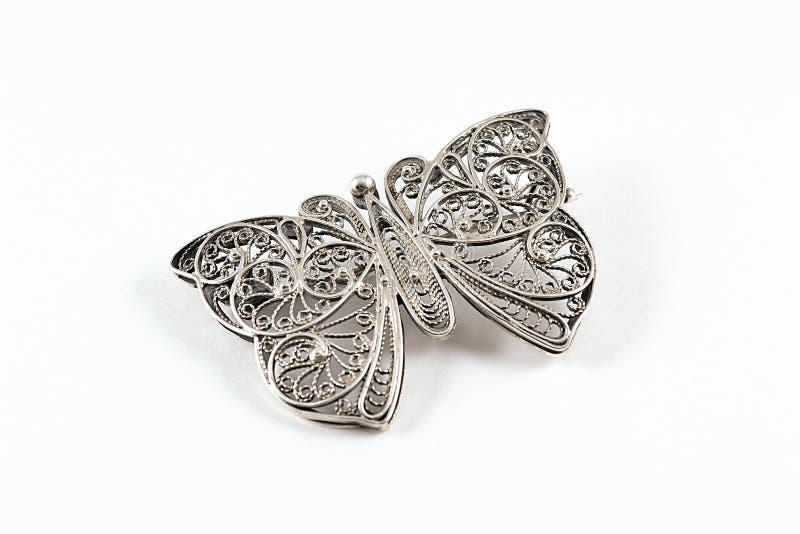 Silberner Schmetterlings-Anhänger lizenzfreie stockfotos