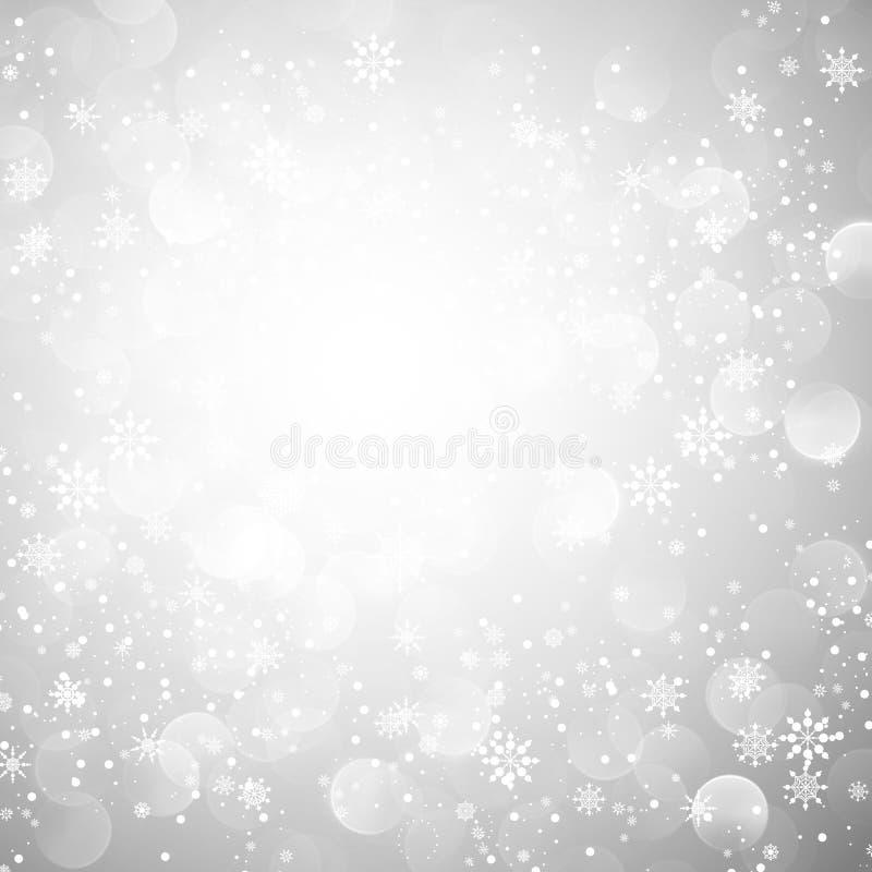 Silberner Schneeflocke-Weihnachtshintergrund vektor abbildung