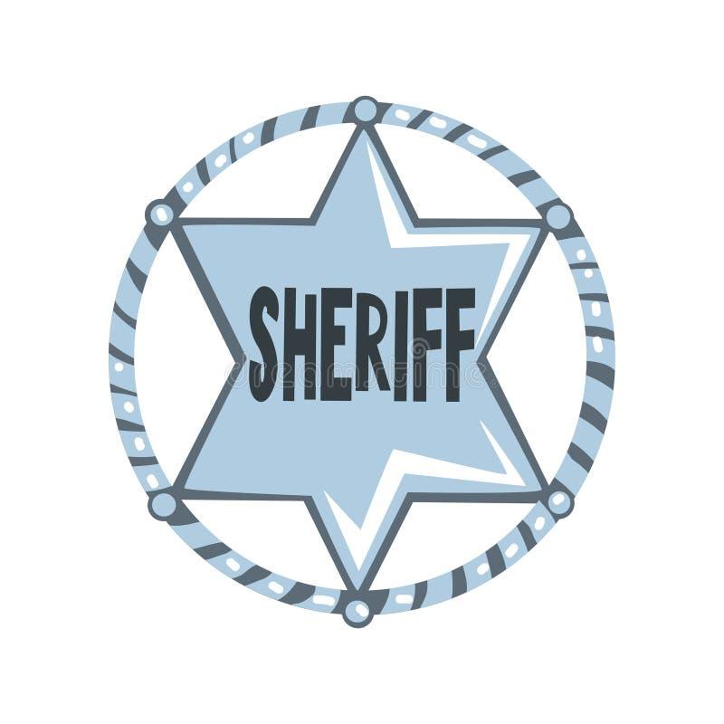 Silberner Sheriffsternausweis, amerikanische Gerechtigkeitsemblem-Vektor Illustration auf einem weißen Hintergrund vektor abbildung