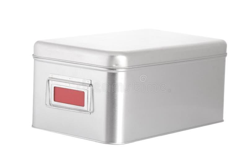 Silberner Stahlkasten mit rotem unbelegtem Kennsatz stockfoto