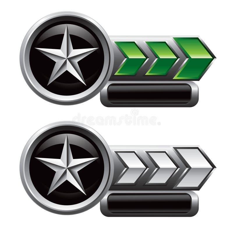 Silberner Stern auf den grünen und weißen Pfeiltypenschildern lizenzfreie abbildung