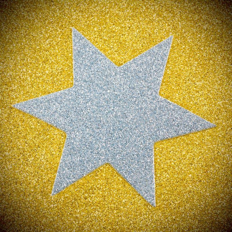 Silberner Stern auf Gold stock abbildung