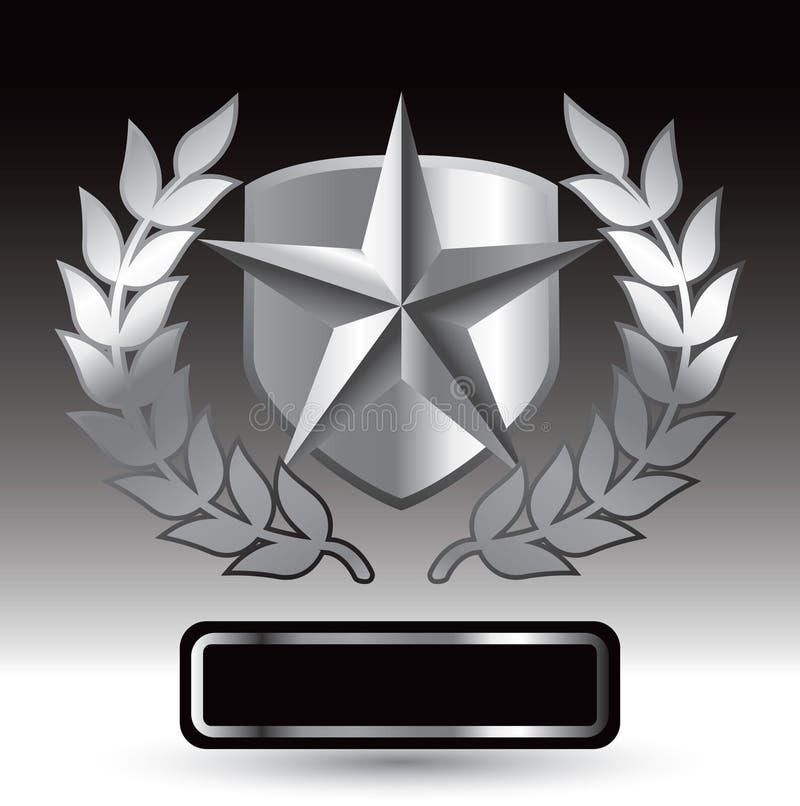 Silberner Stern auf Schild mit Blättern über Typenschild stock abbildung