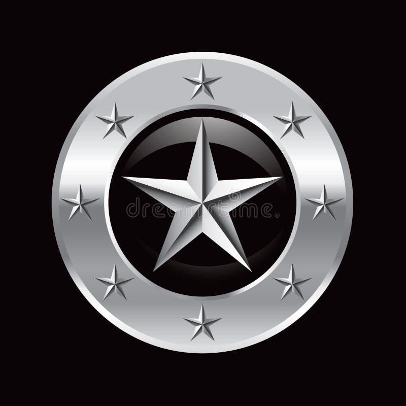 Silberner Stern im silbernen Sternfeld stock abbildung