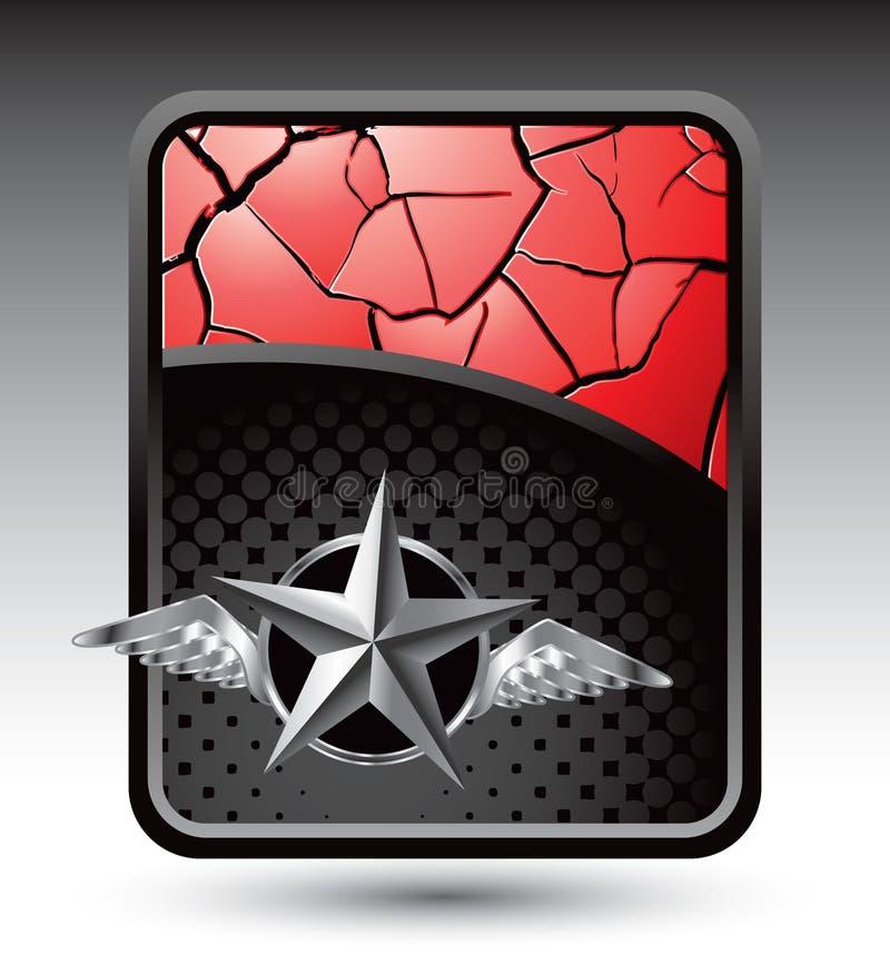 Silberner Stern mit Flügeln auf gebrochenem rotem Hintergrund stock abbildung