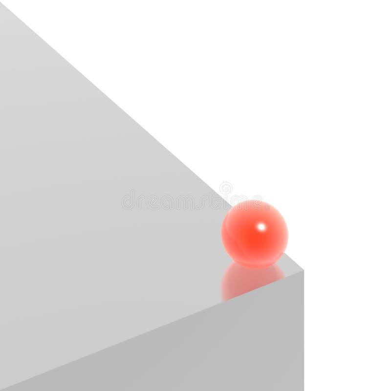 Silberner Würfel und rote Kugel vektor abbildung