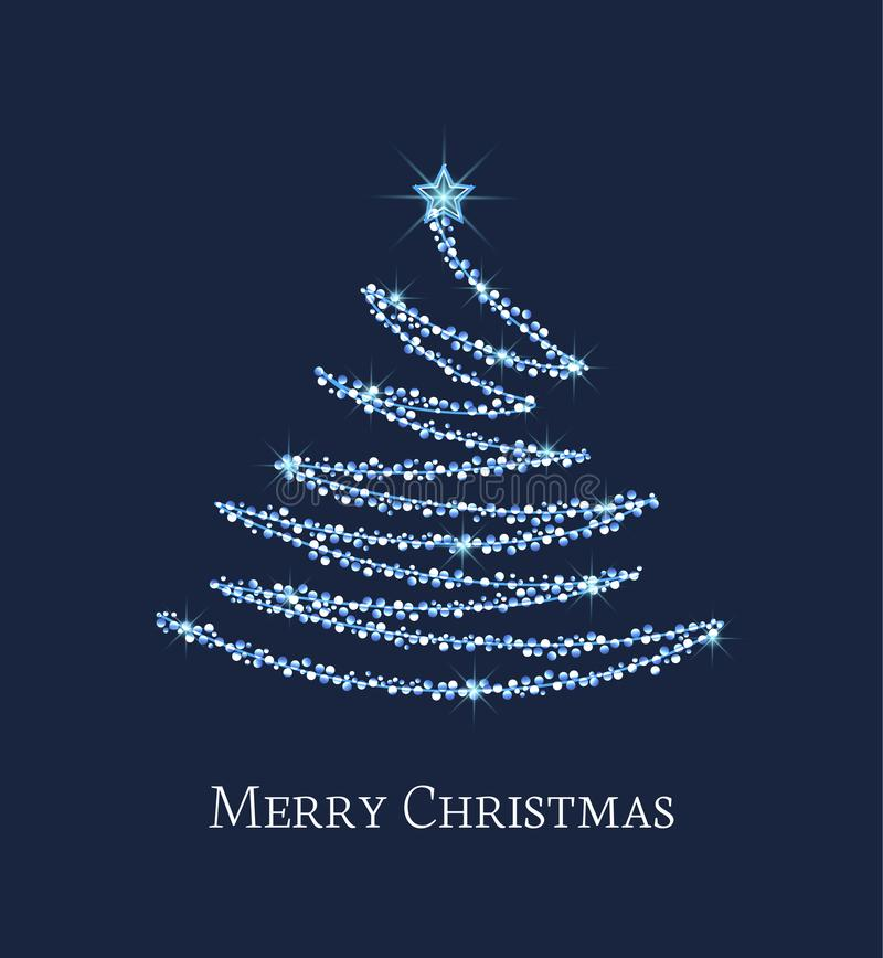 Silberner Weihnachtsbaum stock abbildung