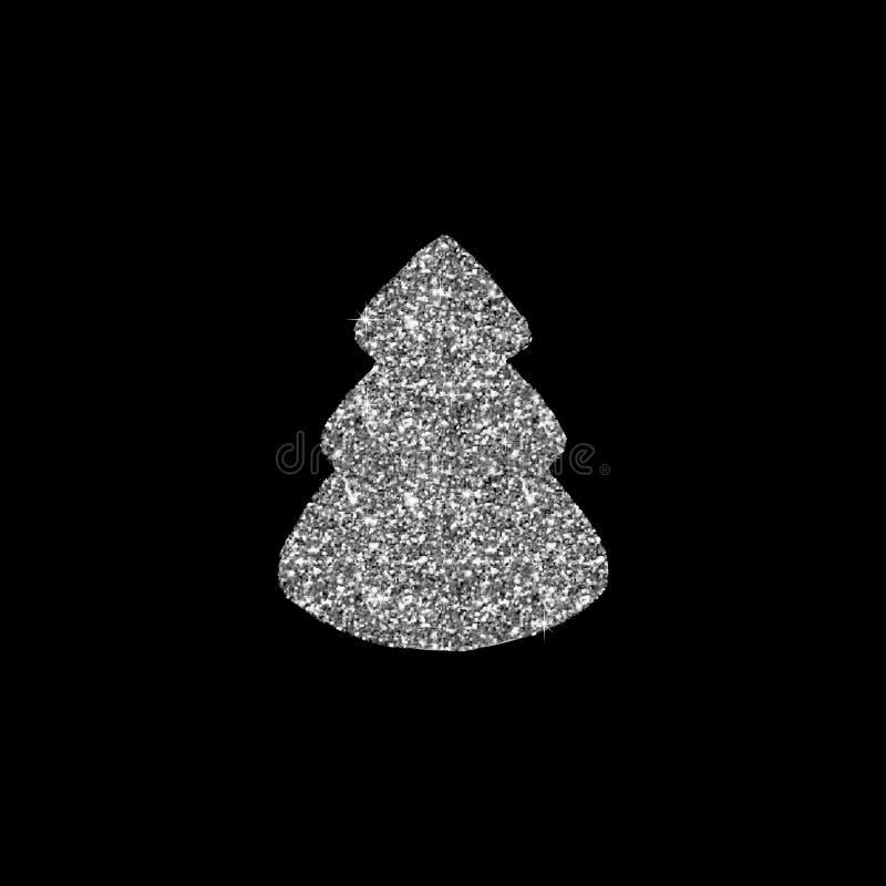 Silberner Weihnachtsbaum Auch im corel abgehobenen Betrag Luxushintergrunddesign mit dem Licht, vibrierend, glühen und funkeln, f vektor abbildung