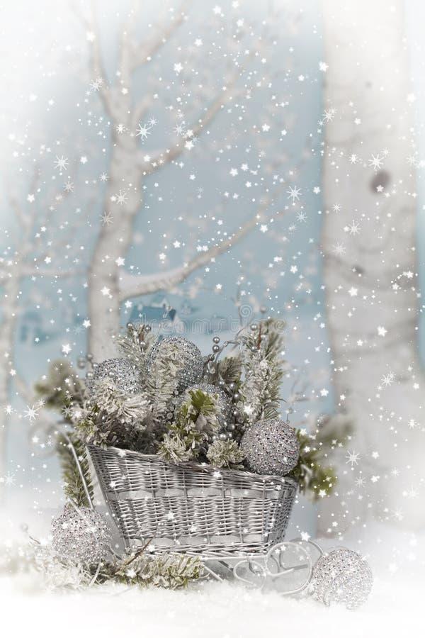 Silberner Weihnachtspferdeschlitten 2 stockbild