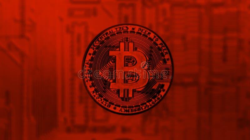 Silbernes Bitcoin über PC-Motherboard in der roten Tönung lizenzfreies stockfoto