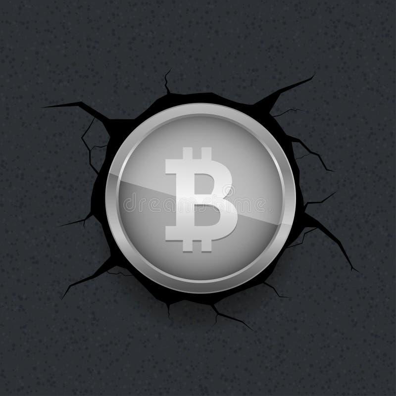 Silbernes Bitcoin auf gebrochenem Hintergrund lizenzfreie abbildung