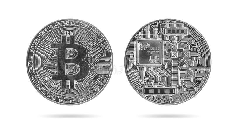 Silbernes bitcoin lokalisiert auf Weiß stockfotografie