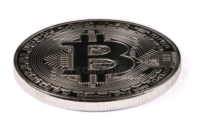 Silbernes bitcoin lokalisiert auf weißem Hintergrund Über Weiß lizenzfreies stockfoto