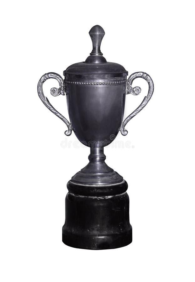 Silbernes Cup der Weinlese mit Pfad lizenzfreie stockfotos