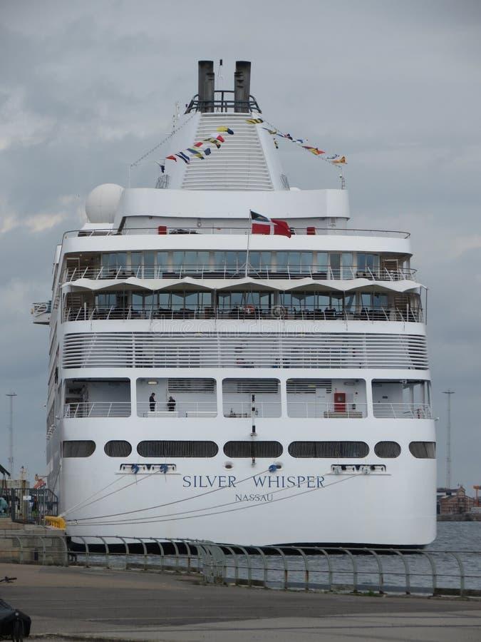 Silbernes Flüsternschiff Kopenhagen stockbild
