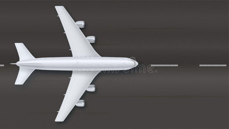 Silbernes Flugzeug auf dem Hintergrund des Asphalts, Draufsicht Das Flugzeug auf der Rollbahn, Vektorillustration Feinkonzept vektor abbildung