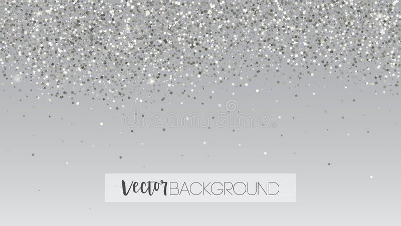 Silbernes Funkeln, das abfällt Glänzende Scheinbeschaffenheit Schablone für Karten des neuen Jahres und des Weihnachten Horizonta stock abbildung