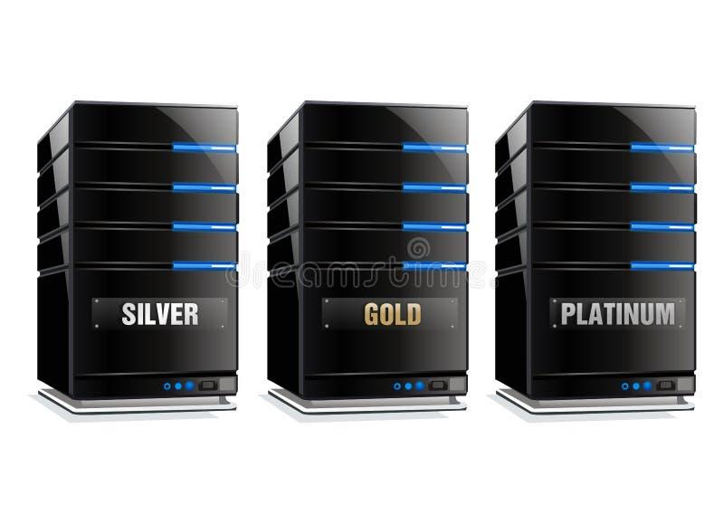 Silbernes Gold und Platin-Hauptrechner lizenzfreie abbildung