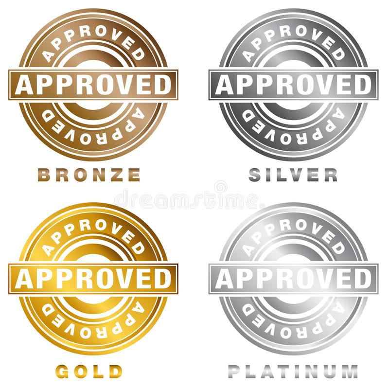 Silbernes Goldbronzeplatin genehmigter Stempel-Satz lizenzfreie abbildung
