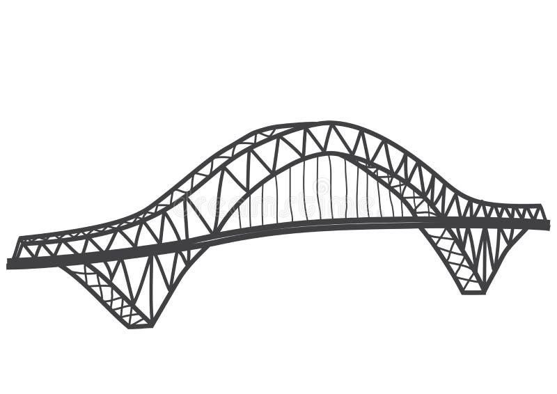 Silbernes Jubiläum-Brückenzeichnung lizenzfreie abbildung