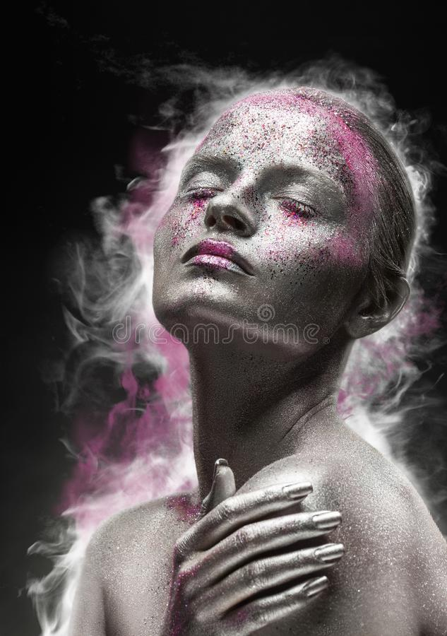 Silbernes Make-up stockfoto