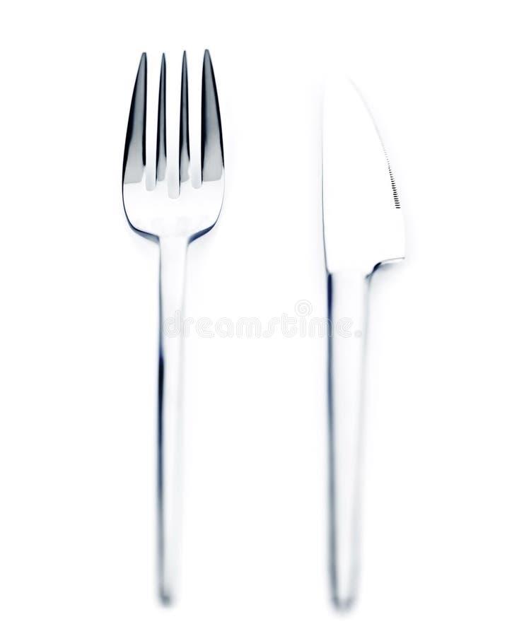 Silbernes Messer und Gabel lizenzfreie stockfotografie
