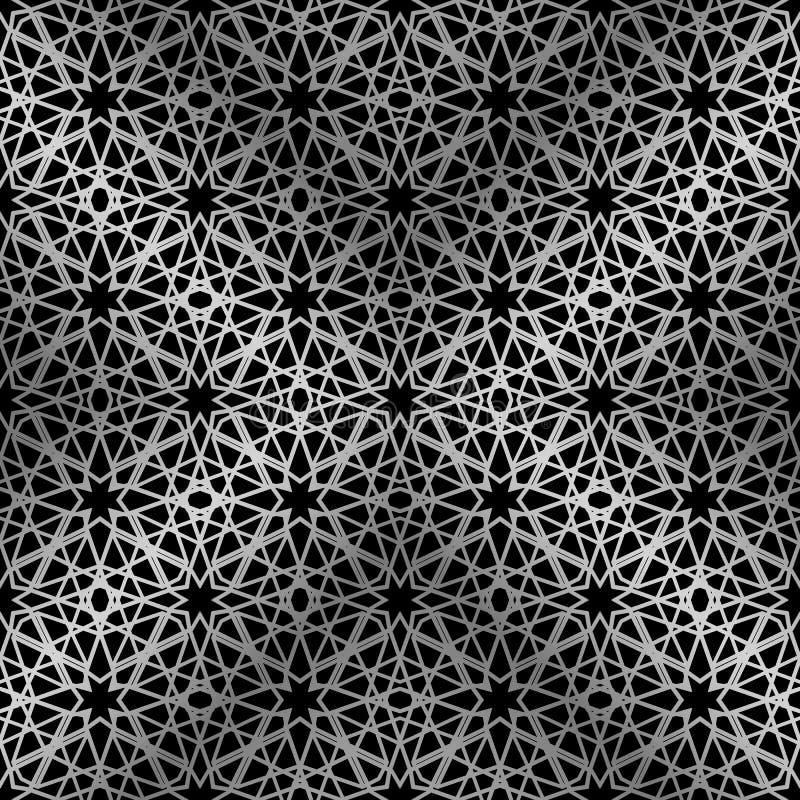 Silbernes Mosaik Orientale des nahtlosen Musters im schwarzen Hintergrund Traditionelle antike Verzierung Marokko und Araber Geom vektor abbildung