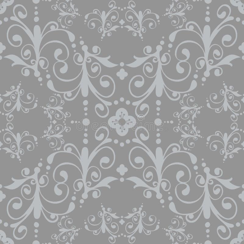 Silbernes nahtloses Blumenmuster stock abbildung