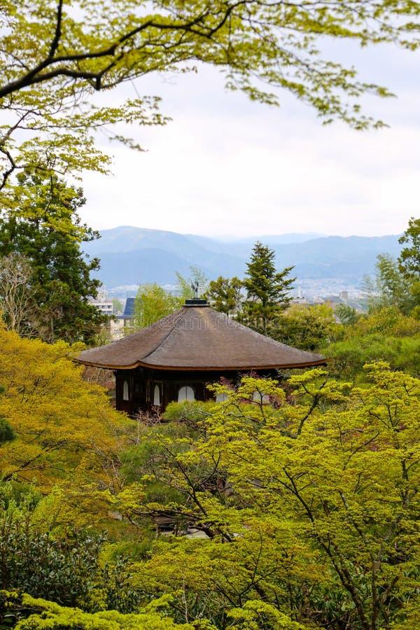 Silbernes Pavillion in Kyoto, Japan unter Bäumen lizenzfreie stockbilder