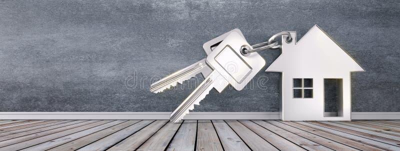 Silbernes Schlüsselanhängerhaus mit silbernen Schlüsseln stock abbildung