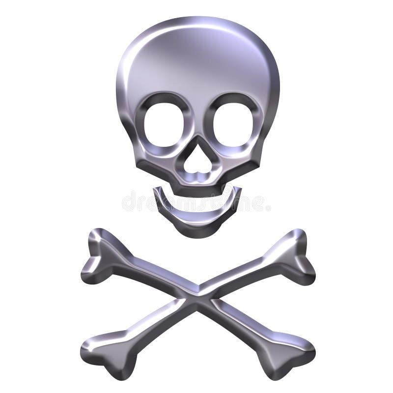 silbernes Skelett 3D stock abbildung
