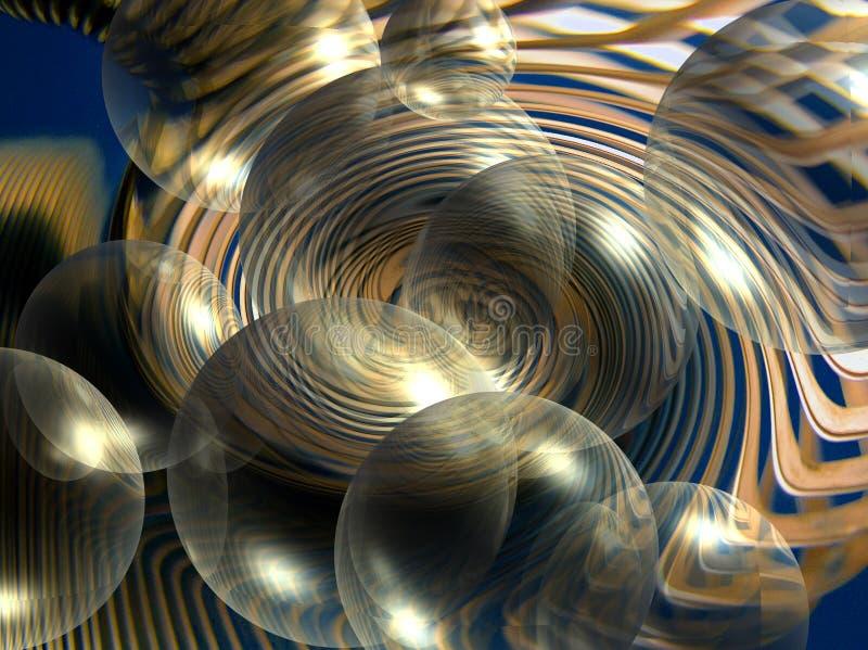 Silbernes und blaues Abract in den Luftblasen stockfoto