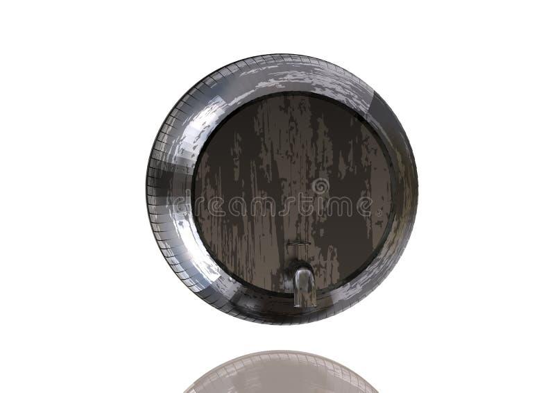 Silbernes und schwarzes Fass auf einem Weiß vektor abbildung