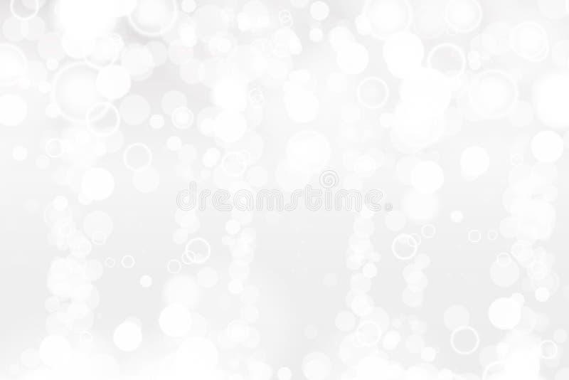Silbernes und weißes bokeh beleuchtet defocused entziehen Sie Hintergrund Eleganter, glänzender, unscharfer heller Hintergrund Ma stock abbildung