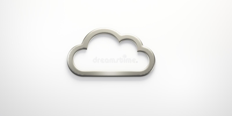 Silbernes Wolken-Logo auf schwarzer Hintergrund 3D Wiedergabe-Illustration stock abbildung