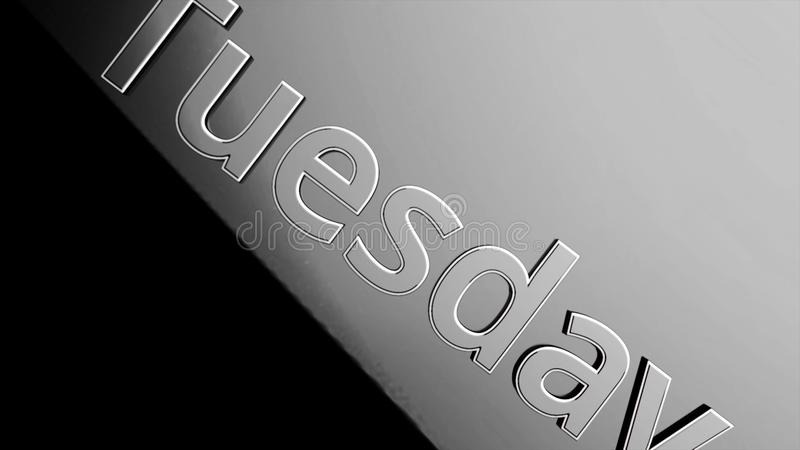 Silbernes Wort Dienstag, der auf schwarzem und grauem Hintergrund, 3D sich verschiebt Tag der Woche Dienstag belebt auf schwarzem lizenzfreie abbildung