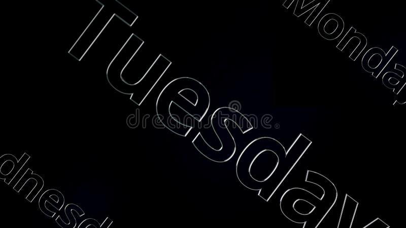 Silbernes Wort Dienstag, der auf schwarzem und grauem Hintergrund, 3D sich verschiebt Tag der Woche Dienstag belebt auf schwarzem vektor abbildung