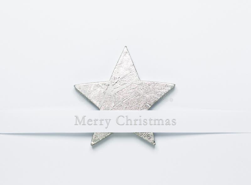 Silberstern der frohen Weihnachten stockfoto