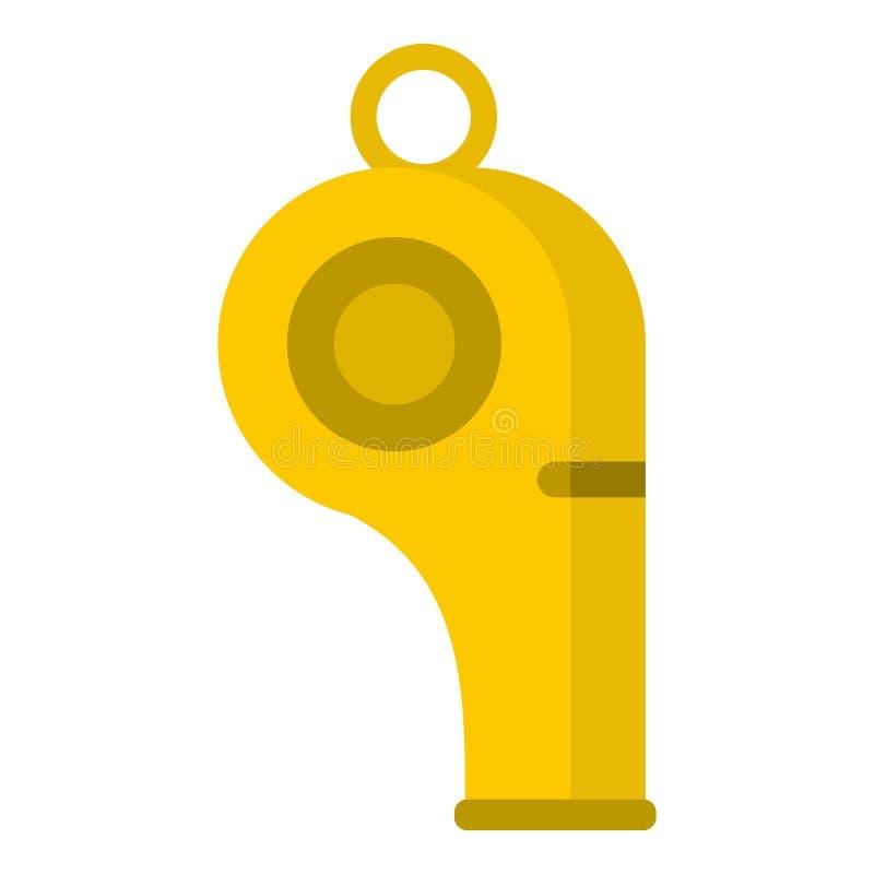 Silbido del icono del árbitro, estilo plano stock de ilustración